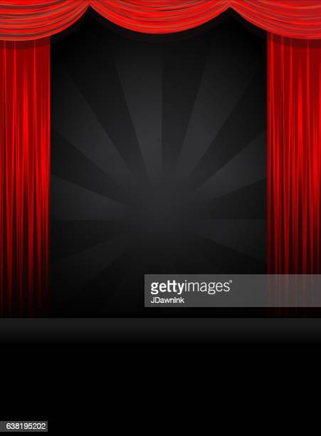 Theatre Stage in black with red curtains