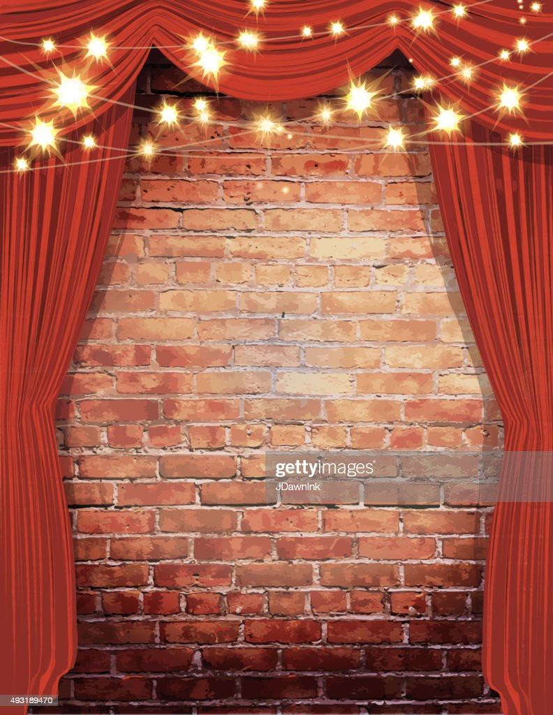 Wall String Lights For Bedroom: Theatre Stage Rustic Brick Wall With Elegant String Lights