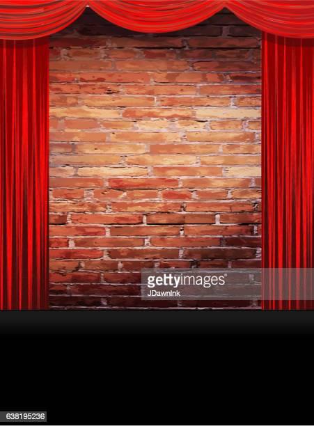 illustrations, cliparts, dessins animés et icônes de theatre stage rustic brick wall with red curtains - mur de briques
