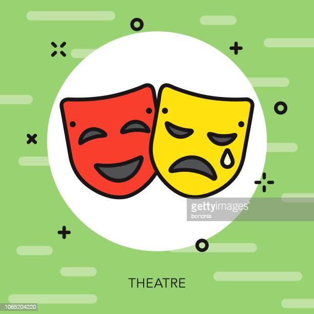 劇場細い線イタリア アイコン - 悲劇の面点のイラスト素材/クリップアート素材/マンガ素材/アイコン素材