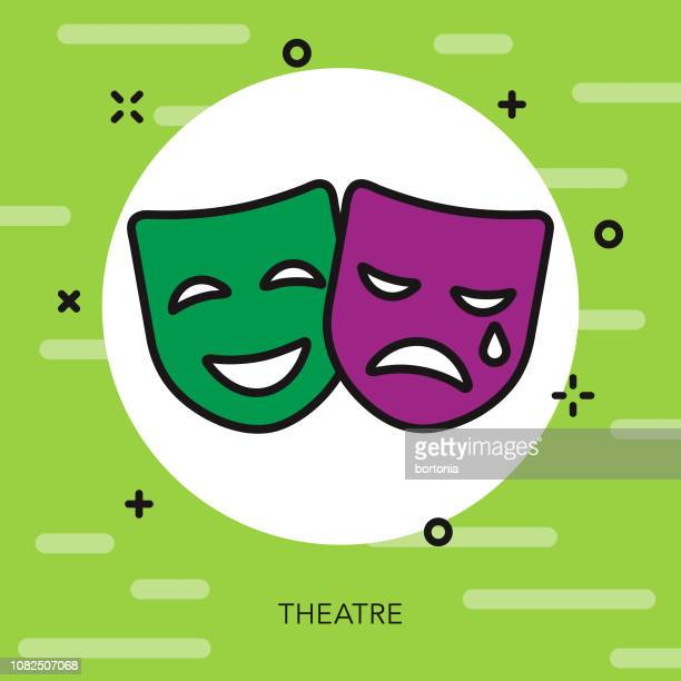 theatre thin line mardi gras icon - theater industry stock illustrations, clip art, cartoons, & icons