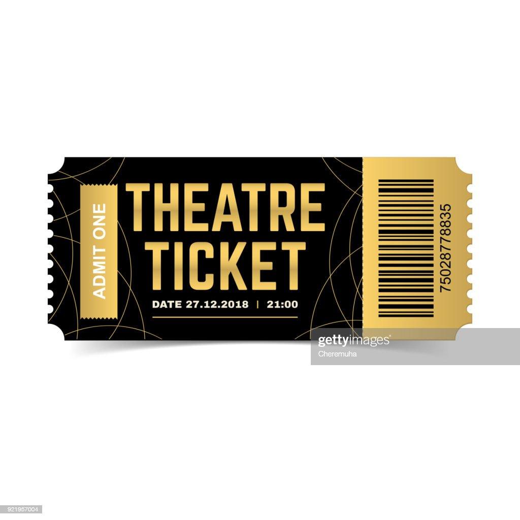 Theatre ticket. Realistic 3d vector premium illustration.
