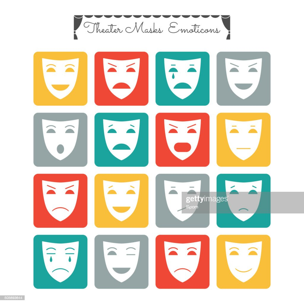 Theatrical masks, emoticons. Characters with different emotions