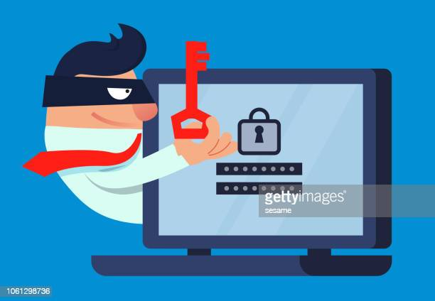 theft and network security - corporate theft stock illustrations