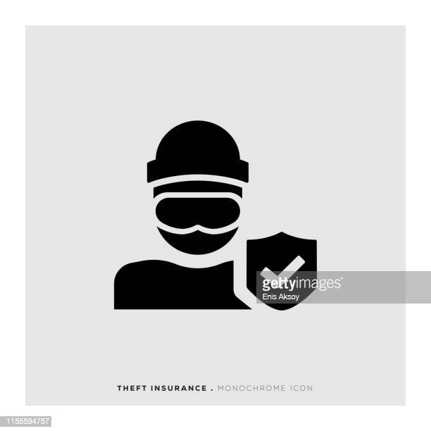 theft insurance icon - safety equipment stock illustrations, clip art, cartoons, & icons