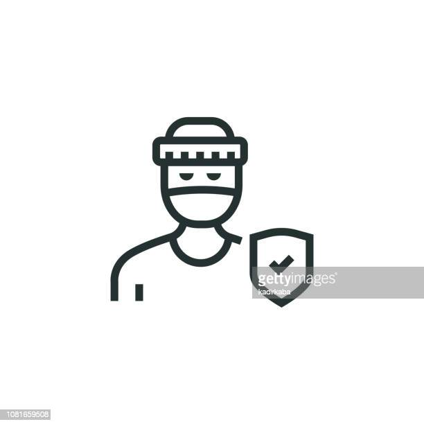 Theft Insurance Line Icon