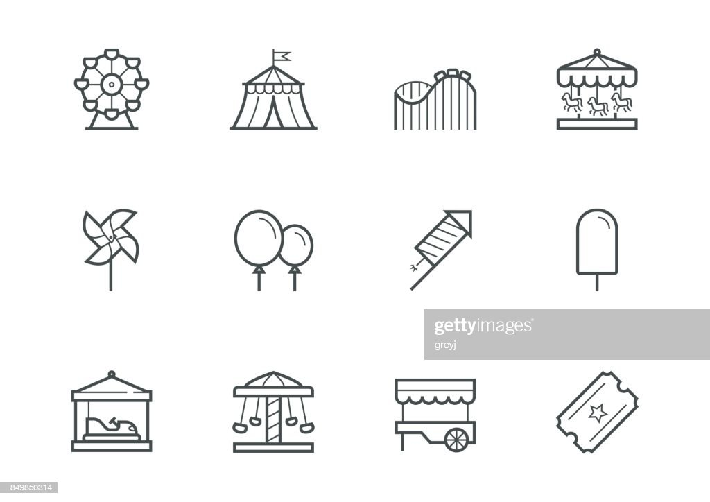 Theme amusement park icon set in thin line style