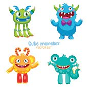 Theme For Kids T-Shirt. Cute Monsters Vector Set.