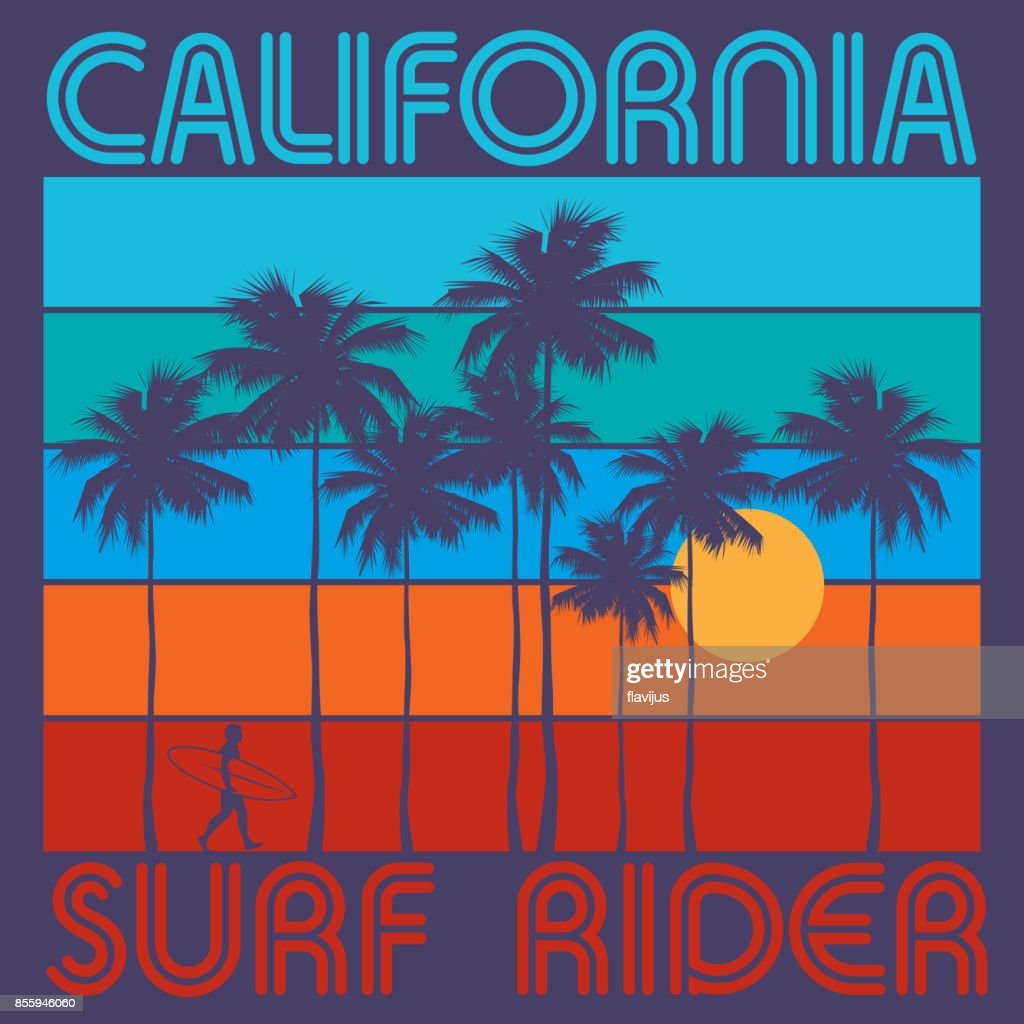 Theme of surfing with text California, Surf Rider