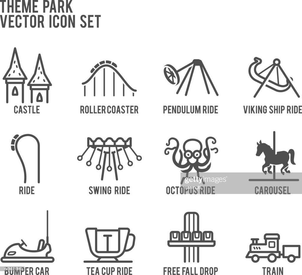 Theme Park Amusement Vector Icon Set