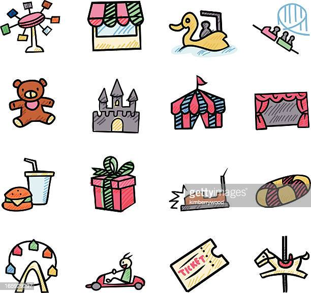 theme park icon - go carting stock illustrations, clip art, cartoons, & icons