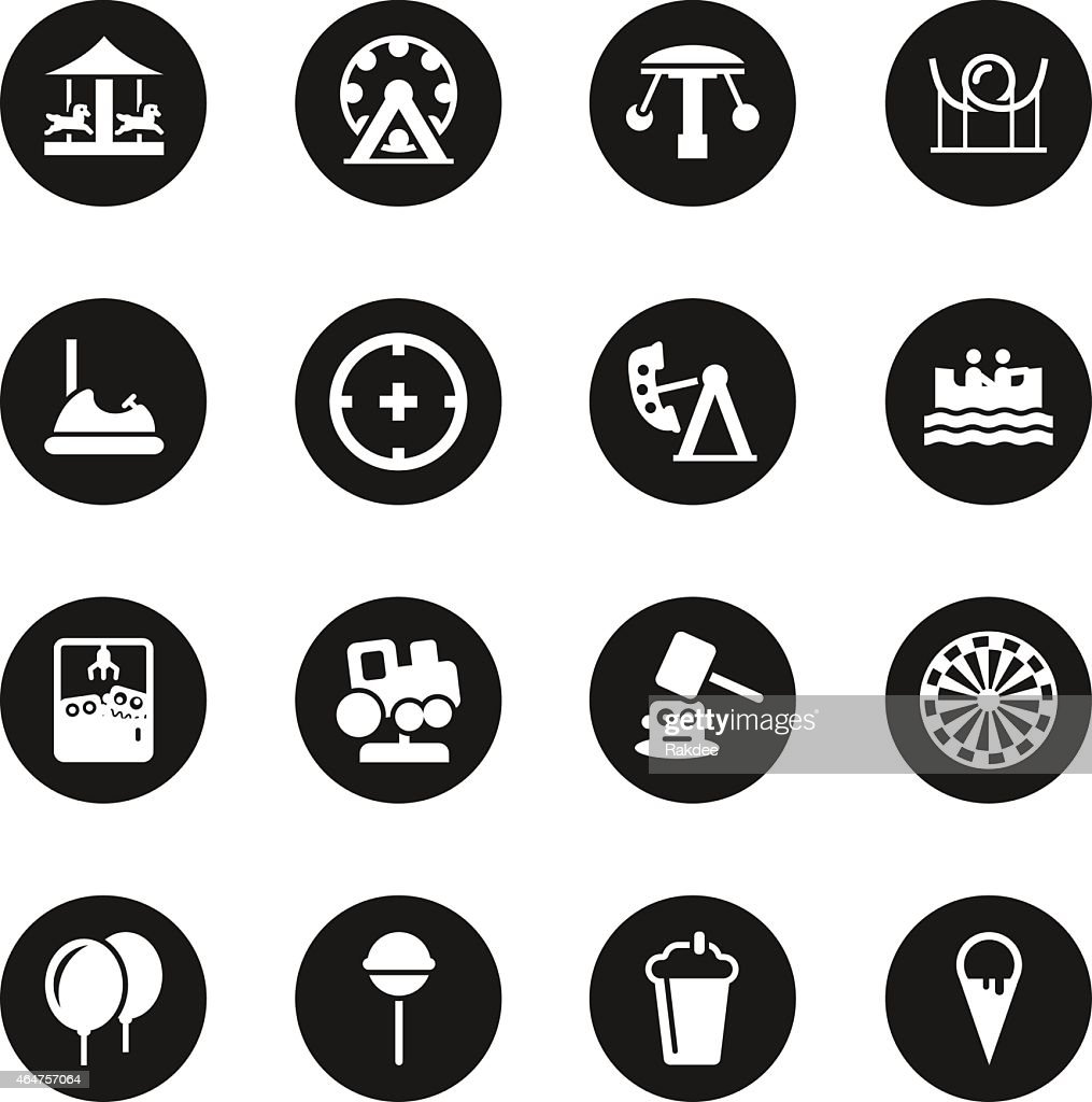 Theme Park Icons - Black Circle Series