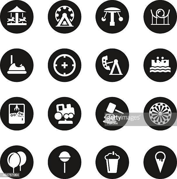 ilustraciones, imágenes clip art, dibujos animados e iconos de stock de parque temático serie iconos-círculo negro - caballitos del tiovivo