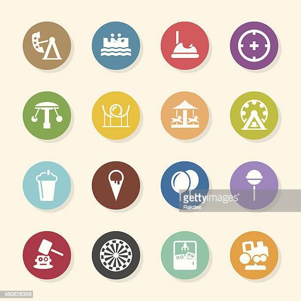 ilustraciones, imágenes clip art, dibujos animados e iconos de stock de parque temático iconos-color círculo serie - caballitos del tiovivo