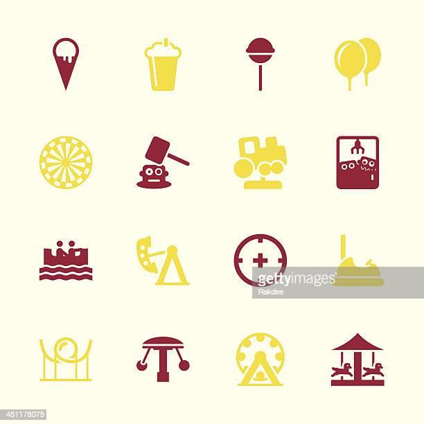 ilustraciones, imágenes clip art, dibujos animados e iconos de stock de parque temático iconos-color serie/eps10 - caballitos del tiovivo