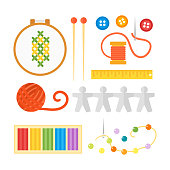 Themed kids creativity creation symbols poster in flat style with artistic objects for children art school fest unusual toys pin needle beads vector illustration
