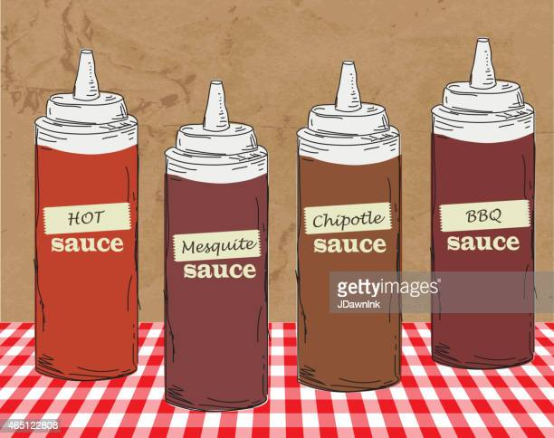 bbq themed squeeze bottles hand drawn - sauce stock illustrations