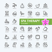 SPA therapy elements - outline icons collection