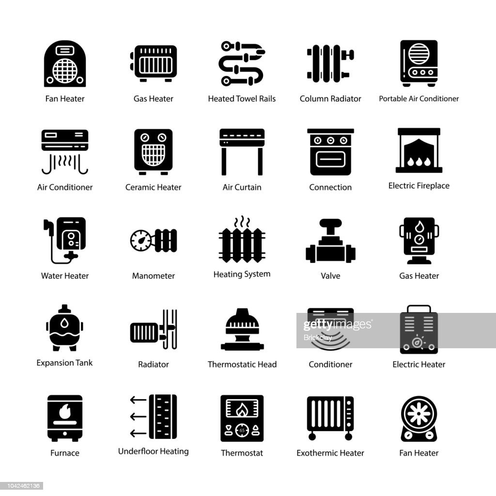 Thermal Heating Glyph Vector Icons
