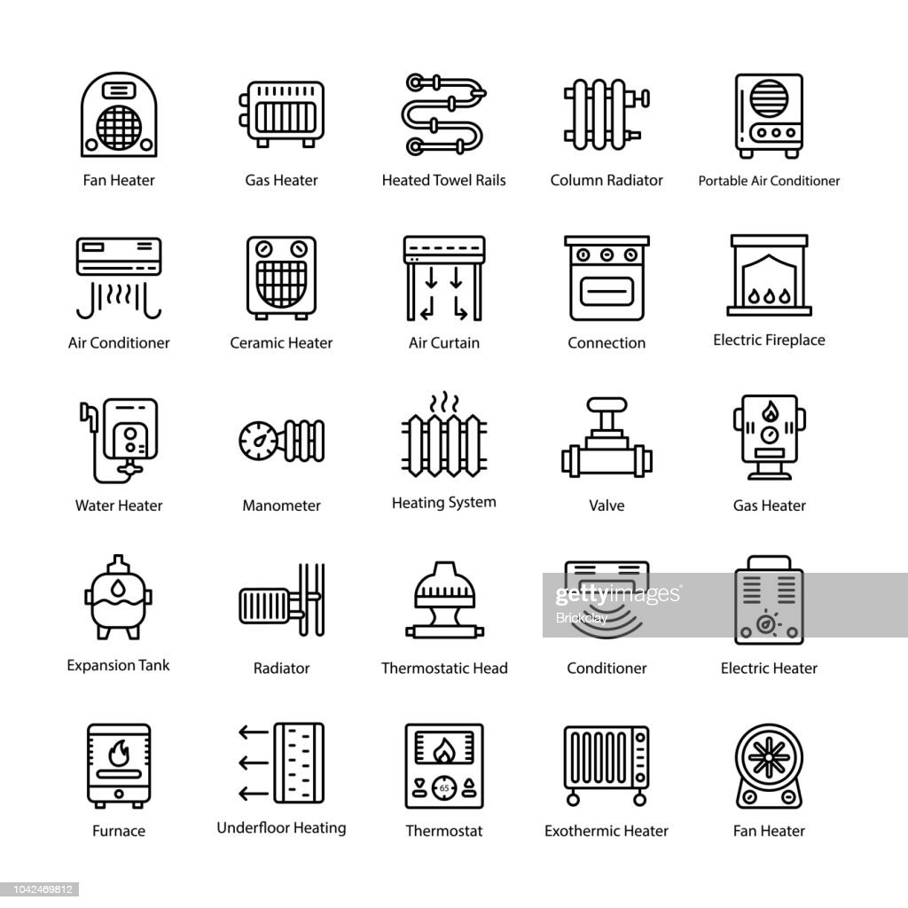 Thermal Heating Line Vector Icons