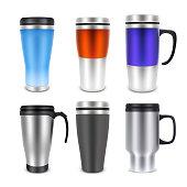 Thermo cup travel mug mock-up set, vector realistic illustration