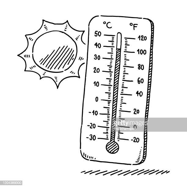 thermometer and sun summer heat drawing - fahrenheit stock illustrations