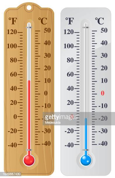 thermometer degree celcious fahrenheit - fahrenheit stock illustrations