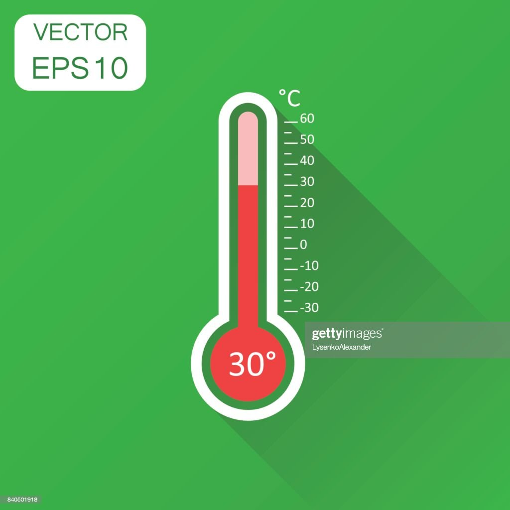 Thermometer icon. Business concept goal pictogram. Vector illustration on green background with long shadow.