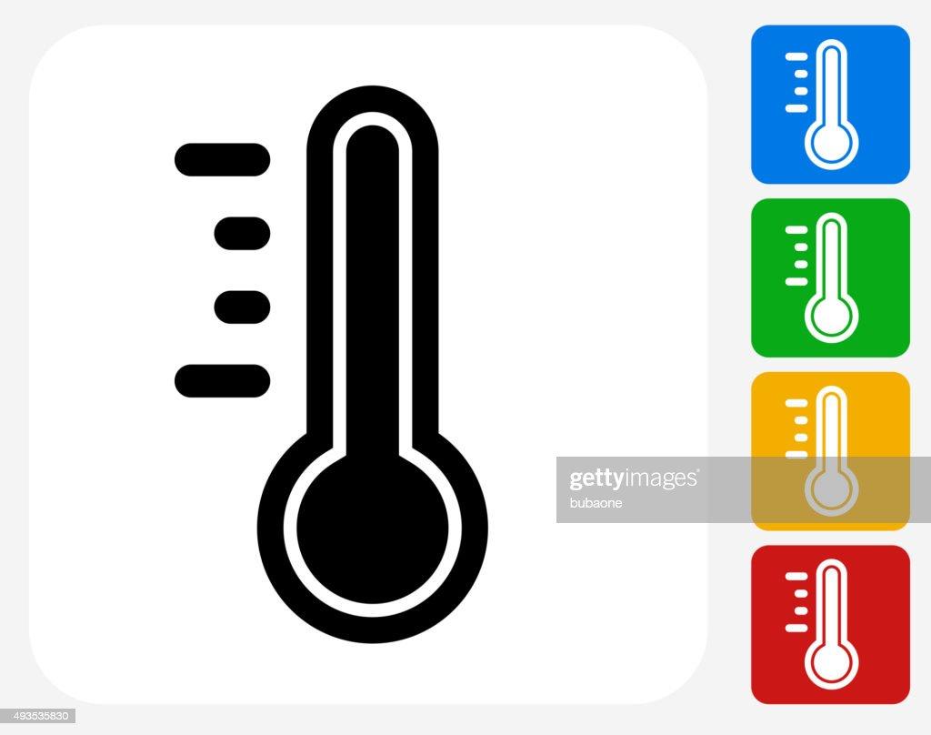 Thermometer Icon Flat Graphic Design