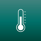 Thermometer icon. Goal flat vector illustration on green background.