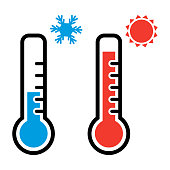 Thermometer in red and blue colors for hot and cold weather with snowflake and sun symbols. Vector illustration