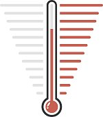 Thermometer red goal vector flat design
