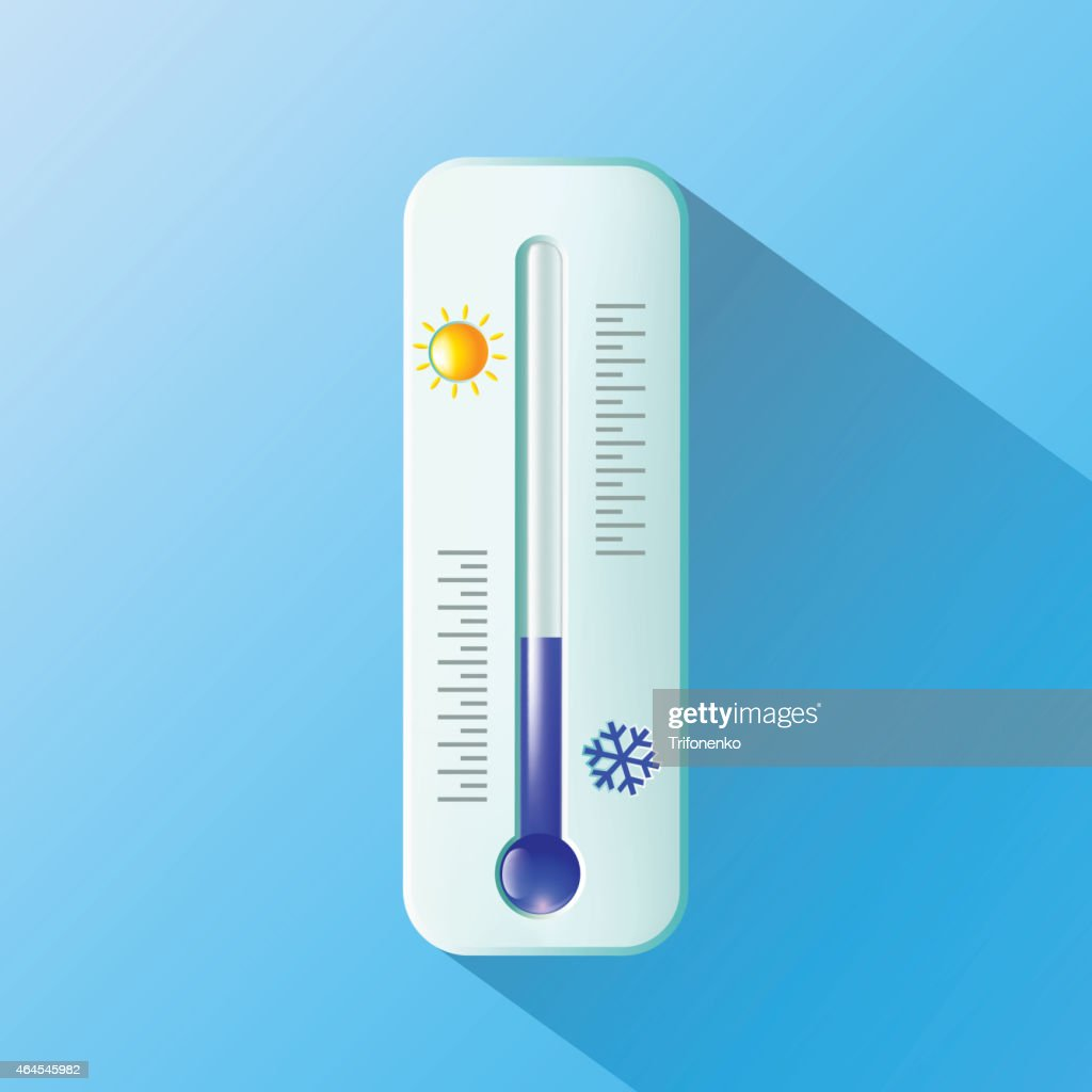 A thermometer, with a sun and a snowflake, on a blue wall
