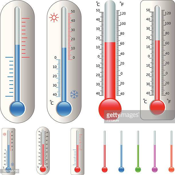 thermometers - fahrenheit stock illustrations