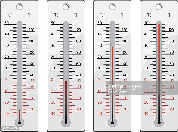 thermometers with various temperatures from cold to hot - fahrenheit stock illustrations