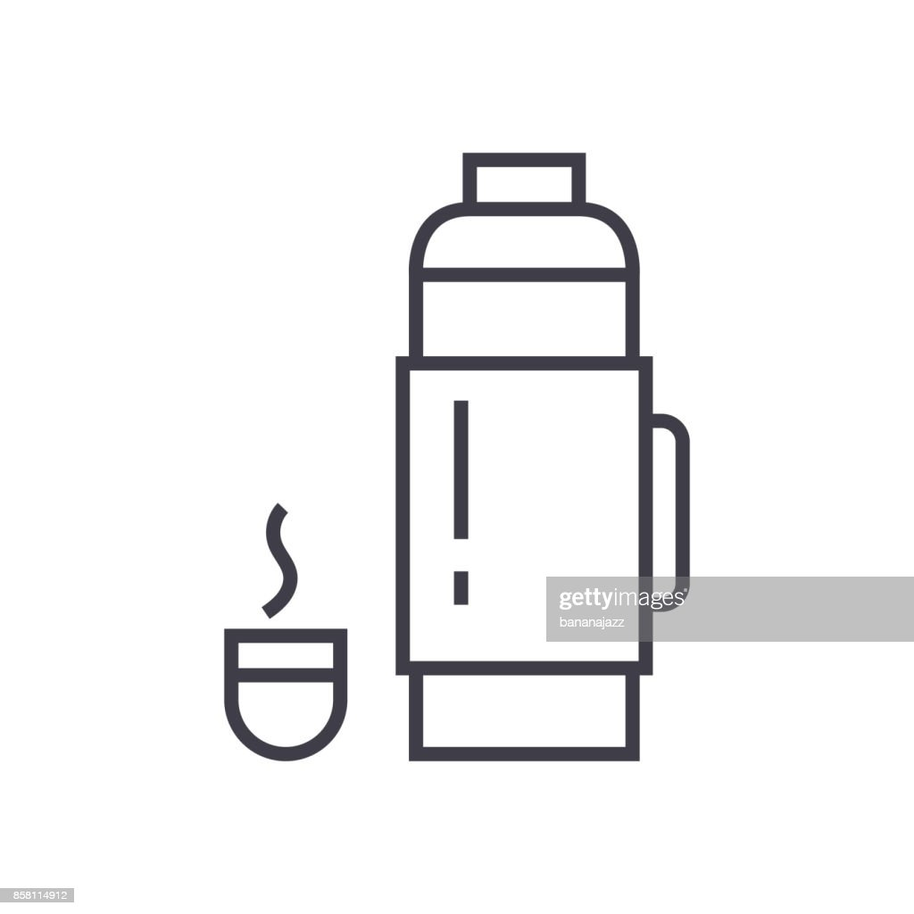thermos sign vector line icon, sign, illustration on background, editable strokes