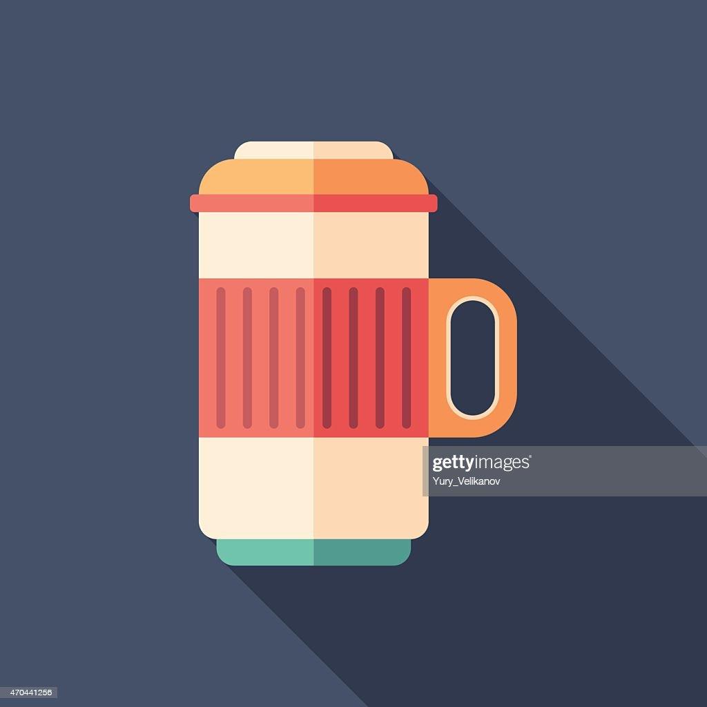 Thermos travel mug flat square icon with long shadows.