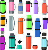 Thermos vector vacuum flask or bottle with hot drink coffee or tea illustration set of metal bottled container or aluminum mug isolated on white background