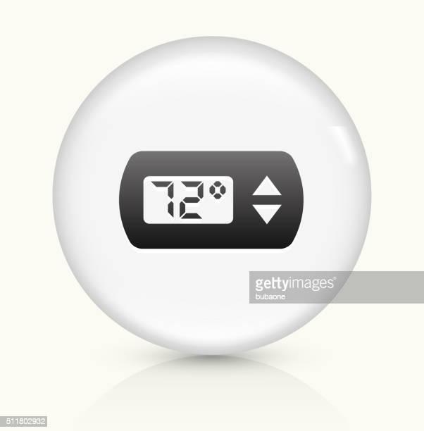 Termostato icono sobre blanco, Vector de redondo botón