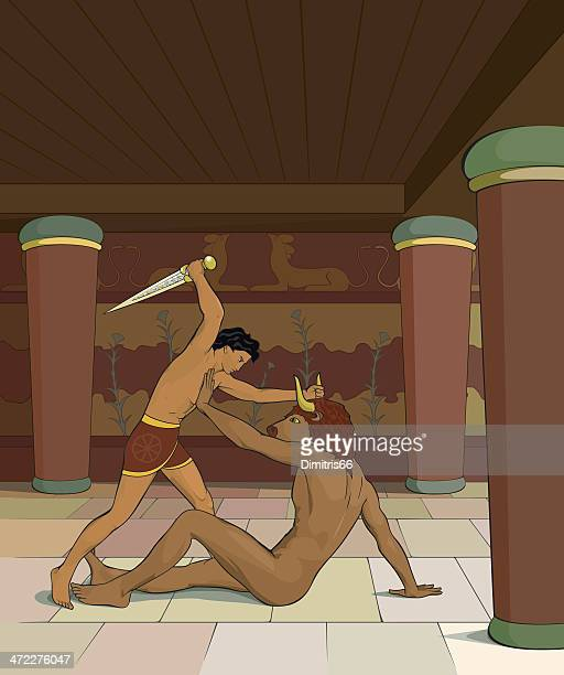 theseus and minotaur - classical style stock illustrations, clip art, cartoons, & icons