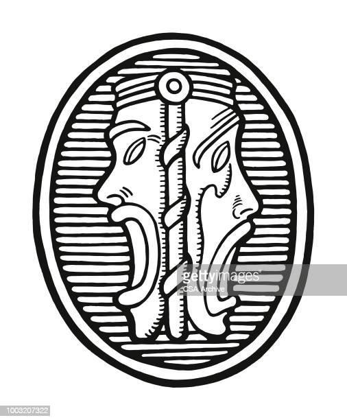 thespian symbol - medallion stock illustrations