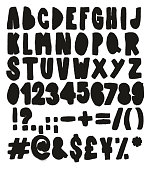 Thick Doodle Stencil Spray Paint Freehand Vector Font with Uppercase Letters, Numbers & Signs