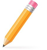 Thick pencil with eraser. Vector illustration in realistic style.