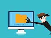 Thief. Hacker stealing confidential data document folder from computer useful for anti phishing and internet viruses campaigns. concept hacking internet social network.