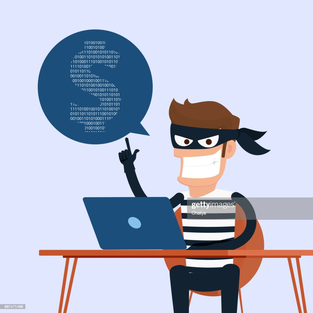 Thief. Hacker stealing sensitive data as passwords from a personal computer useful for anti phishing and internet viruses campaigns.concept hacking internet social network.