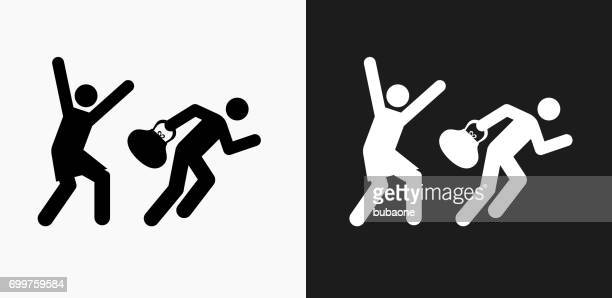 Thief Icon on Black and White Vector Backgrounds