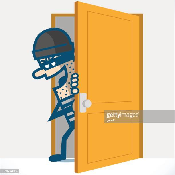 Thief is opening door