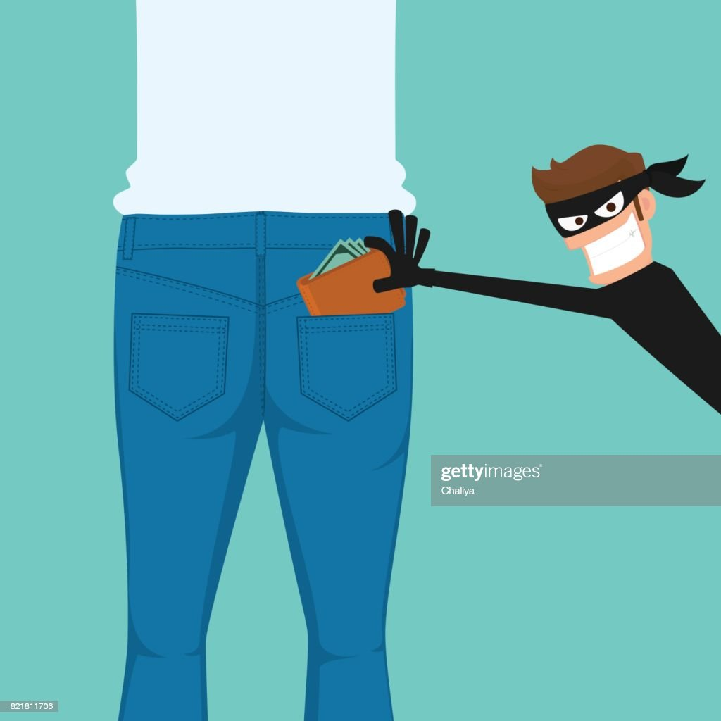 Thief pickpocket stealing a wallet from back jeans pocket.