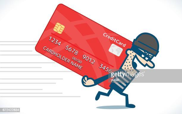 thief steal credit card - verification stock illustrations, clip art, cartoons, & icons