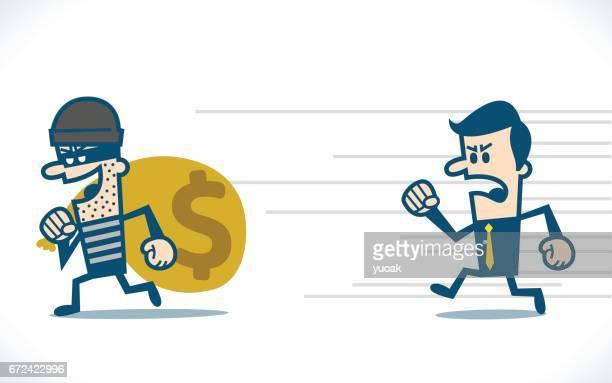 お金の袋を盗む泥棒 - 犯罪者点のイラスト素材/クリップアート素材/マンガ素材/アイコン素材